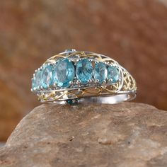Madagascar Paraiba Apatite,  Malgache Neon Apatite, and Diamond Ring in 14K Yellow Gold and Platinum Overlay Sterling Silver (Nickel Free)