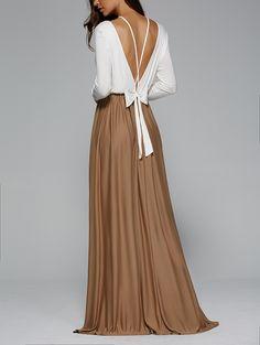 Fashionable Long Sleeve Lace-Up Backless Maxi Dress