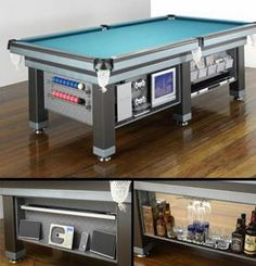 This pool table has everything... a stereo, a TV, a bar, and a video game console! billiardfactory.com