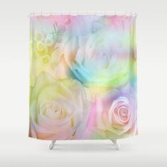 Romantic painterly pastel roses Shower Curtain