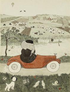 """illustration jeunesse française : 1931, Jean de Brunhoff, """"histoire de Babar le petit éléphant"""", voiture, transports, animaux, gris, 1930s"""