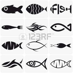 Collection of creative vector black fish icons on white background Illustration , Fish Vector, Vector Art, Tattoo Graphique, Photographie Portrait Inspiration, Fish Icon, Watercolor Fish, Fish Drawings, Doodle Drawings, Clip Art