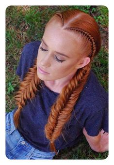 Pigtail braids offer ladies a straightforward but stylish way of weaving their hair. They only take a couple of minutes to make, but they look gorgeous. Fishtail Braid Hairstyles, Pigtail Braids, Cute Hairstyles, Wedding Hairstyles, Simple Braided Hairstyles, French Hairstyles, Redhead Hairstyles, Balayage Hairstyle, Fashion Hairstyles