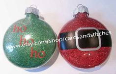 Two Santa Glass Ornaments by cardsandstitches on Etsy