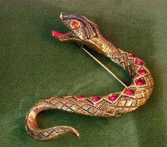 Vintage ART Snake Brooch Enamel & Red Rhinestone #vintagejewelry #ART #designerjewelry #enameljewelry #snake #vintagebrooch #serpent #figuraljewelry $62.00