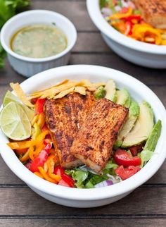 Looking for Fast & Easy Main Dish Recipes, Seafood Recipes! Recipechart has over free recipes for you to browse. Find more recipes like Fish Taco Salads with Sriracha Lime Dressing. Easy Healthy Dinners, Healthy Salad Recipes, Lunch Recipes, Easy Dinner Recipes, Seafood Recipes, Cooking Recipes, Nut Recipes, Yummy Recipes, Healthy Fish Tacos