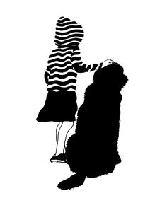 Ulrike Wathling, Girl with dog. Illustrations, Illustration Sketches, Character Illustration, Black And White Painting, Black White Art, Collages, Vintage Nursery, Chalk Art, Dog Art