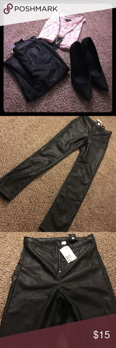 Sexy-Strong! Black Zippered Faux Leather Skinnies Never worn, NWT... H&M so that means instead of US Size 8 it's more like a 4... So sad. I was IN LOVE and excited to get these. Whichever one of you tiny beauties snags these, I'm jealous... But happy to see them get some use :) H&M Pants Skinny