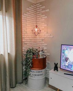 nosso canto de casa preferido 💛✨ reformamos o tônel/tambor, fizemos essa parede de tijolinho com isopor e a luminária com palito de… Living Room Decor, Bedroom Decor, Wall Decor, Rustic Winter Decor, New Room, Decoration, Diy Home Decor, Sweet Home, House Design