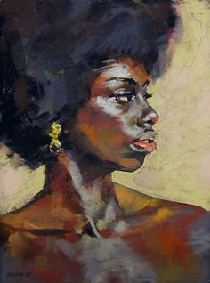"""A Gold and Onyx Earring"" - John Markese, pastel on board {contemporary figurative art african-american female head #naturalhair afro black woman face profile drawing #loveart}"