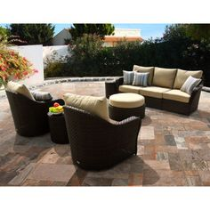 Living Home Outdoors Hatteras 7 Piece Teak Wicker Dining Set Bjs Whole 1499 99 Pinterest Sets And Patios