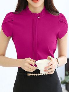 Band Collar Ruffle Trim Plain Petal Sleeve Blouse is hot sold on ByChicStyle, T-shirts & Blouses,Blouses with high quality guaranteed and fashion elements contained. White Shirts Women, Blouses For Women, Women's Blouses, Cheap Blouses, Dress Neck Designs, Blouse Designs, Boho Outfits, Fashion Outfits, Fashion Blouses
