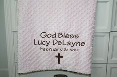PERSONALIZED Premium Minky Dot Blanket by EmbroideryMark on Etsy, $28.50 perfect gift for a baptism, new baby, baby shower, or special personalized throw.  www.embroiderymark.etsy.com