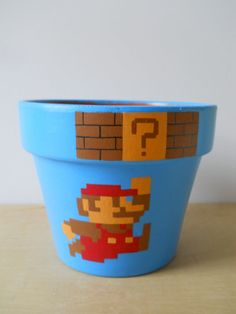 Super Mario Nintendo NES video game painted flower pot.