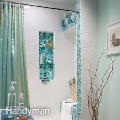 Tile a Shower: Installing a tile shower in your bathroom? Build an alcove, bench and shelf into the shower space with these advanced tiling techniques, and turn your bathroom into a showplace.  http://www.familyhandyman.com/tiling/tile-installation/tile-a-shower/view-all