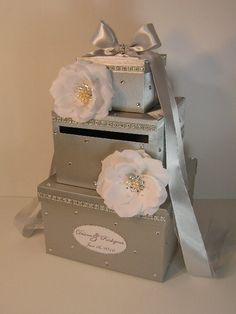 wedding card box silver with off white handmade flowers and swarovski crystalspearls gift card box money box holder customize your color