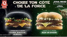 A French and Belgian fast food chain, Quick, will soon be offering a series of Star Wars-inspired hamburgers -- Dark Vador Burger, Jedi Burger and the Dark Burger. The most notable of the sandwiches is the Dark Vador, a burger with seemingly blackened bun Darth Maul, Hamburgers, Cheeseburgers, Mcdonalds, Quick Restaurant, Black Burger, Black Bun, Black Dark, Star Wars