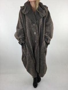 Lagenlook Felt Boho Oversized Coat in Mocha. code 4068