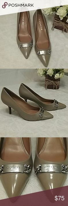 NEW  Coach Heels Brand new tannish Brown Coach heels silver strap with chain links, says coach New York on front tip of the toes. Coach Shoes Heels