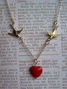 Vintage Style Gold Brass Swallow Bird & Red Turquoise Heart Necklace Valentine