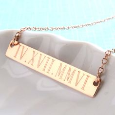 Engraved Bar Date Bar Necklace Roman Numerals by ShopSomethingBlue