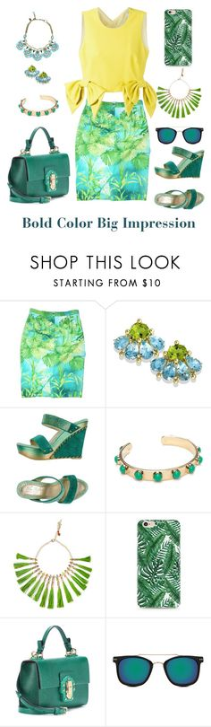 """Summer Botany Look"" by shamrockclover ❤ liked on Polyvore featuring Versace, Badgley Mischka, Kate Spade, Rosantica, Dolce&Gabbana, Spitfire and MSGM"