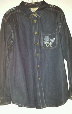 Koret City Blues - woman's,  size XL, embroidered denim shirt/jacket. Quality! ! #KoretCityBlues #ButtonDownShirt #Casual