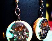 Wine And Time Earrings, Wine Cork Earrings, Vintage Clock Earrings, Handmade Clock Earrings,