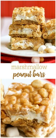 Peanut Marshmallow Bars - a delicious treat with a peanut butter cookie base, melted marshmallows and topped with peanuts, butter and Peanut Butetr Chips! Peanut Butter Desserts, Peanut Butter Chips, Köstliche Desserts, Delicious Desserts, Dessert Recipes, Marshmallow Peanut Butter, Marshmallow Desserts, Key Lime Desserts, Plated Desserts
