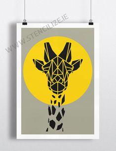 Art Print Geometric Giraffe Print Cool Gray Giraffe por Stencilize, €10.00