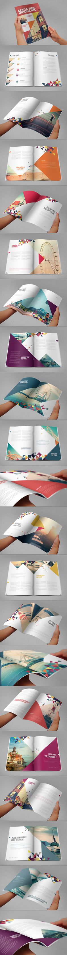 I like the use of shapes on the cover and throughout the magazine. The triangles and colors help brand the magazine. It's an interesting way to use design elements to show that the magazine is editorial. Design Brochure, Brochure Layout, Graphic Design Layouts, Graphic Design Inspiration, Branding Design, Portfolio Covers, Portfolio Design, Web Design, Design Art
