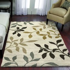 Carolina Weavers Eden Collection Toppling Leaves Ivory Area Rug (5'3 x 7'6) (5 ft 3 in x 7 ft 6 in), Beige, Size 5' x 8' (Plastic, Floral)