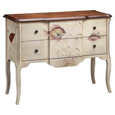 Hand-painted chest with tropical fish motif.   Product: ChestConstruction Material: WoodColor: Br...