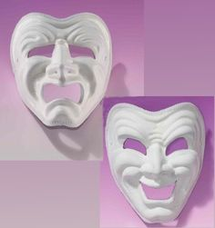 TRAGEDY & COMEDY MASQUERADE MASKS Theater Arts Comedy & Tragedy Masks #65623 / 65624 - $11.99