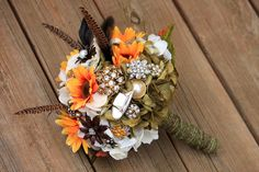 Duck Dynasty inspired Hunting Pheasant Camo wedding bridal brooch bouquet etsy wedding. $75.00, via Etsy....This is beautiful!!! I know y'all girls in the burg are going to re pin this one!!! :)