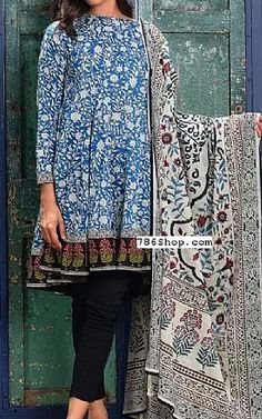 Blue Lawn Suit (2 Pcs) | Buy Khaadi Pakistani Dresses and Clothing online in USA, UK