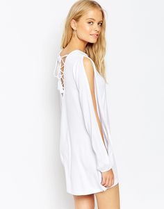 ASOS+Swing+Dress+with+Split+Sleeve+and+Lace+up+Back