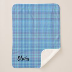 Pre- Order  Pre-order today! Your design will be made and shipped as soon as our manufacturers are ready to begin production.  Classic Blue Plaid Sherpa Blanket  $39.95  by rachelelich  - cyo diy customize personalize unique