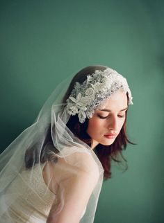 Silk tulle veil with chantilly lace and beaded appliques - Style # 224 | Veils | Twigs & Honey ®, LLC