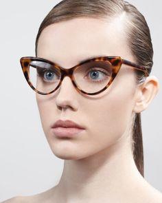 Cat-Eye Fashion Glasses, Light Havana