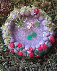 Fairy garden miniature pond.  Miniature garden, dollhouse ,terrarium etc. by PuppyLoveMiniature on Etsy