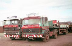 """Two from the Pollock fleet doing internal work at Leith docks. The Merc's fleet name was""""Royal Highland"""" and the DAF's """"Thrust II"""". Old Lorries, Road Train, Classic Trucks, Cool Trucks, The Good Old Days, Old And New, Mercedes Benz, British, Cars"""