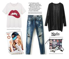 """""""ripped jeans"""" by yexyka ❤ liked on Polyvore featuring Converse, vintage, Sheinside and shein"""