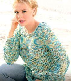 Схема спицами меланжевый пуловер с ажурным узором