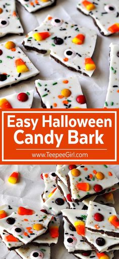 Easy Halloween Candy Bark. This yummy and super EASY Halloween treat will be a…