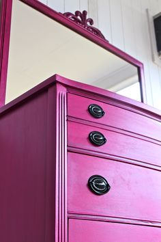 Pink Vintage Dresser with Mirror /Girl Bedroom Decor /Magenta /Black Drawer Pulls /Storage /Antique Painted Bright Furniture /. $425.00, via Etsy.