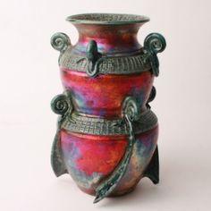 Double Raku Pot handmade by Florida artist, Adam Pennington– Fusion Art Glass Online Store