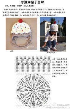 编织美好 图解 可爱钩针冰淇淋卡套毛线帽儿童帽 动手给宝宝做东西 Crochet Kids Hats, Crochet Beanie Hat, Baby Girl Crochet, Love Crochet, Beanie Hats, Crochet Cupcake, Crochet Hood, Crochet Slippers, Bandeau