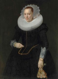 Portrait of a lady, three-quarter-length, in a black embroidered dress, ruff and lace cuffs, holding a pair of embroidered gloves Medieval Art, Renaissance Art, Female Portrait, Female Art, Elizabeth The Golden Age, Dutch Women, Academic Art, Lace Cuffs, Beauty Art