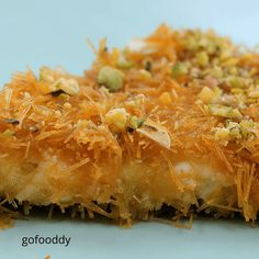 Kunafa recipe most royal and supreme Arabian dessert made up of mozzarella cheese and vermicelli, which gives crisp,chrunchy finishing and sweet taste. Arabic Dessert, Arabic Sweets, Arabic Food, Scottish Recipes, Turkish Recipes, Persian Recipes, Romanian Recipes, Cheesy Recipes, Sweet Recipes
